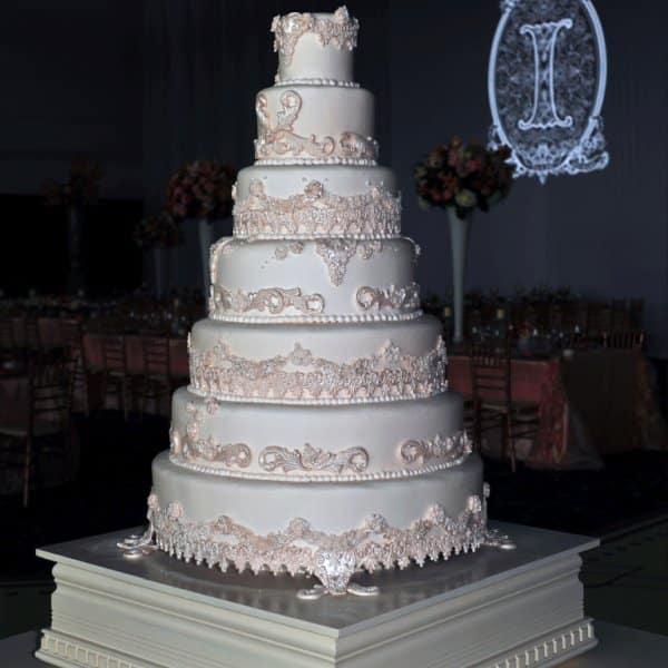 A white cake at a wedding