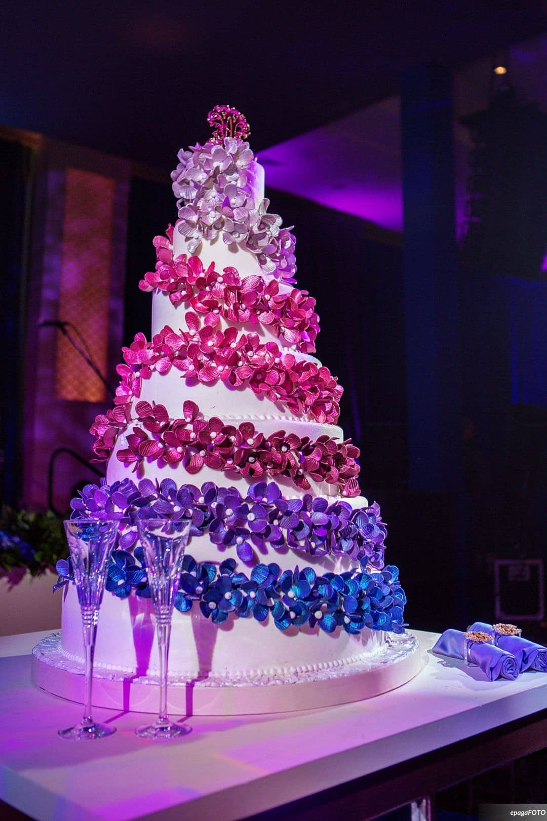 colorful wedding cake with flowers